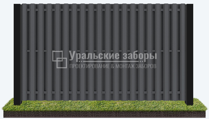 Забор из металлического штакетника «Евро шахматка»